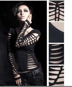 photo n°4   Haut gothique manches longues PUNK RAVE Vetement Gothique Femme,  Manches 5d621b1f1ccd