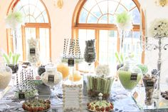 Elegant Candy Buffet.  White, Black, Apple Green & Damask Candy Station.  www.SimplisticCharmLinenRental.com  & More.