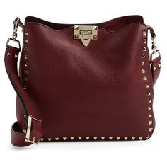Valentino 'Small Rockstud' Leather Hobo Bag (103,025 DOP) ❤ liked on Polyvore featuring bags, handbags, shoulder bags, purses, bolsas, borse, cremisi, red shoulder bag, genuine leather handbags and leather handbags