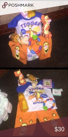 Tigger diaper cake Receiving blanket 2 piece tigger outfit stuff rattle tigger plastic tigger toy piglet book teether bottle diapers wrap in plastic with ribbons Disney Accessories