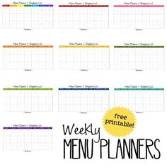 free download menu planners. All kinds of printables