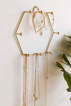 """Sadie Hexagon Hanging Jewelry Stand, $14, 6"""" long by 6"""" wide -  UrbanOutfitters.com"""