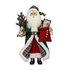 The Tartan Santa from Karen Didion Originals brings the joy of Christmas into your home. The quality of this figurine is unmatched with its hand-painted face, glass inset eyes, real mohair beard, unique fabric, and detailed accessories. <BR>