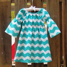 Thanksgiving Outfit, Peasant style Dress! Fall Outfit , Teal Shevron Dress! Baby dress. Teen Dress.3/4 sleeve Dress, Flower Girl dress.