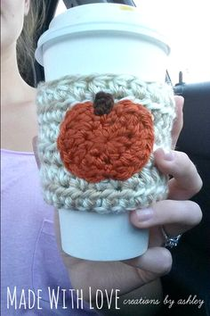 faec82b997ccb Crochet Pumpkin Coffee Sleeve Cozy Cozie by MadeWithLoveCba