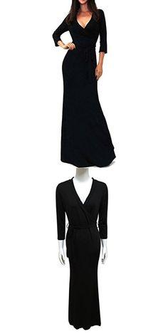 bbc4f51094 Singleluci Women's Solid V-neck 3/4 Sleeve Wrap Waist Long Maxi Dress (XL,  Black)