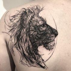lion head tattoo on shoulder by @bk_tattooer
