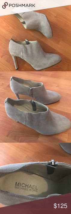 "NWOB! Michael Kors Sammy Ankle Boot NWOB! Stunning grey Suede MK booties. A mule inspired silhouette defines a round toe ankle boot. Zips on side and approximate heel height is 3 1/2"". No trades Michael Kors Collection Shoes Ankle Boots & Booties"