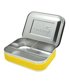 Look what I found on #zulily! Yellow & Stainless Steel Three-Compartment Lunch Container by LunchBots #zulilyfinds