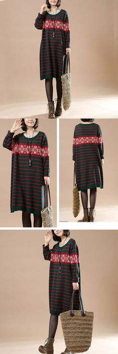 Autumn Women Round Neck Long Sleeve Striped Casual Long Sweater.Soft and lightweight.