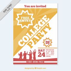 Brochure with silhouettes dancing Free Vector