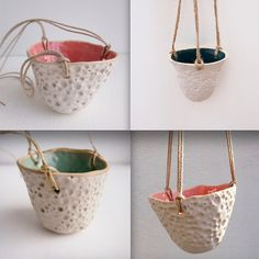 Handmade ceramic stoneware hanging planters with a circle design pattern without drainage holes and 3 little holes to hang from. Cotton hanging twine is included with each pot !  *Photos are examples of similar pots previously sold and the colours. The pot you will receive will be similar but not exactly the same as each is one of a kind .  *Please message if you would like a photo of your exact pot.   1 small metallic black [ 5cm high x top diameter 8cm  1 small Turquoise [ 6.5cm high x top…