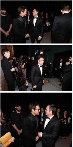 Robert Downey Jr. & Mark Ruffalo, backstage @ the Oscars, 2-24-13