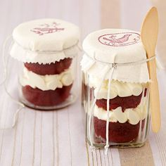 We used Mason jars to show off layered treats like trifles and stacked cupcakes: http://www.bhg.com/party/mason-jar-party-ideas/?socsrc=bhgpin110414makedessertholders&page=8