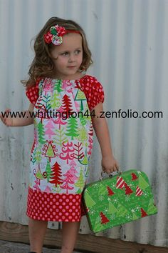 Christmas Peasant Dress - Michael Miller Funky Christmas Trees - Sizes 2T to 10
