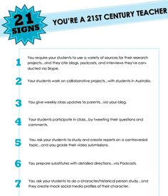 21 Signs your a 21st century teacher - great list