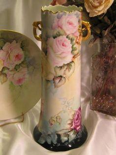 Limoges France Rose Vase, Circa 1900