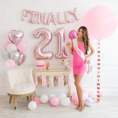 Birthday Decorations Set Celebrate Her Legendary 21 Bday Party w/Rose Gold Sash, Number Balloons, Finally 21 Cake Topper STUNNING Birthday Decorations Set Celebrate Her Legendary 21st Birthday Gifts For Girls, 21st Bday Ideas, 21st Birthday Cakes, 21st Birthday Ideas For Girls Turning 21, Classy 21st Birthday, 25th Birthday Parties, 21st Birthday Outfits, Birthday Sash, Birthday Balloons