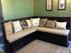 Customer Photo: Custom Bench Cushions in Sunbrella Heather Beige for Kitchen Eating Area
