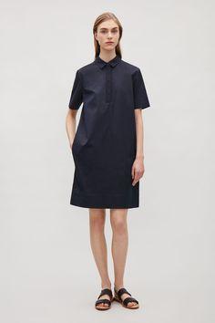 COS image 1 of Grosgrain detail shirt dress in Navy