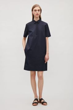 COS image 1 of Grosgrain detail shirt dress in Navy
