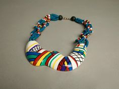 Abstract Painted Necklace Wooden Modernist by talkingfashionnet