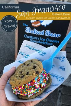 These over-the-top ice cream sandwiches originally from Baked Bear in San Diego are now found in San Francisco! Where to eat in San Francisco. Travel Tips Tips Travel Guide Hacks packing tour San Francisco Food, San Francisco Restaurants, San Francisco Travel, What Is Baking, California Travel, California Living, Southern California, Travel Guide, Travel Hacks