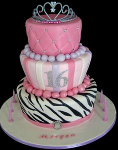 16th Birthday Cake - Tiara was made from fondant - all edible