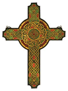 Meyda Tiffany Religious Jeweled Celtic Cross Stained Glass Window | Wayfair