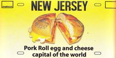 Pork Roll Egg And Cheese Rectangle Auto Magnet Pork Roll, New Jersey, Rolls, Food And Drink, Eggs, Beef, Cheese, Restaurants, Heart