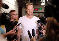 Nashville Predators goalie Pekka Rinne, of Finland, talks with reporters as players report for NHL hockey training camp Thursday, Sept. 17, 2015, in Nashville, Tenn.