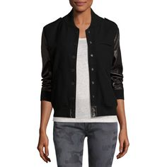 Etienne Marcel Wool-Blend & Leather Bomber Jacket ($495) ❤ liked on Polyvore featuring outerwear, jackets, black, wool-blend jacket, leather bomber jacket, real leather jackets, leather jackets and fleece-lined jackets