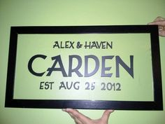 Vinyl letters on picture frame