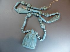 VINTAGE ART DECO CZECH MAX NEIGER EGYPTIAN REVIVAL MUMMY SCARAB GLASS NECKLACE