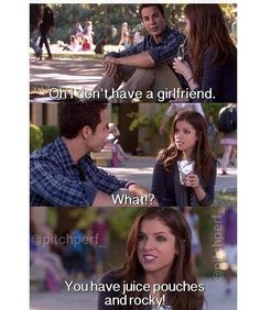 { Sarcasm much, Jesse? Tv Quotes, Movie Quotes, Pith Perfect, You Funny, Hilarious, Funny Stuff, Funny Things, Pitch Perfect Quotes, First Love Story