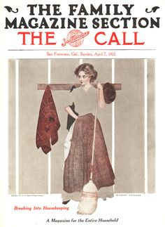 "Coles Phillips - The San Francisco Call Magazine cover (April 7, 1912) ""Breaking Into Housekeeping"" Fadeaway girl"