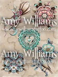 Birds Flowers Hearts and Moonlight Tattoo Flash A3 by amybird
