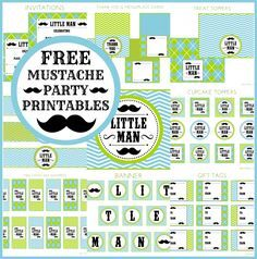 Free Full Set of Mustache Bash Birthday Party and Baby Shower Party Printables! #mustachebash #littleman #freeprintables