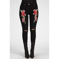 Black Floral Embroidered Ripped Skinny Jeans Ariel ($38) ❤ liked on Polyvore featuring jeans, tight fitting jeans, skinny leg jeans, torn skinny jeans, distressed jeans and skinny fit jeans