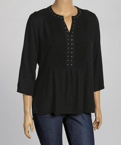 Loving this Black Embroidered Tunic - Plus on #zulily! #zulilyfinds
