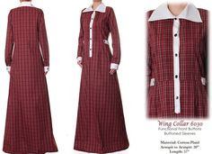 Pointed Collar Cotton Plaid Long Sleeved Abaya by Tailored2Modesty