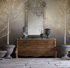 Birch Trees, The Pots, The Unfinished Dresser with Marble Top, The Mirror, The Rustic Floor.   Wow. Wow. Wow.    Winter Wonderland Trees - Birch