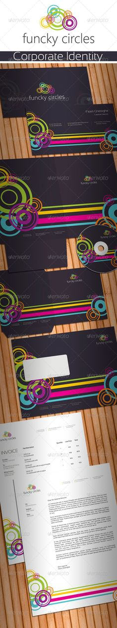 Funcky Circles Stationery  #GraphicRiver         Simple, clean and modern Creative Design Digital Agency stationery package.   Simple to work with and highly customizable, it ca be easely adjusted to fit your needs.   All layeres are well named and organized.   High quality fully layered and fully editable PSD templates. Print Ready, CMYK , 300 dpi with bleed and guidelines.   Pakage includes:   1. Business Card 2. Poket Folder 3. CD Covers and CD Label 4. C5 Envelope 5. Letterhead 6…