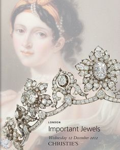 Alt view DIAMOND TIARA of 9 old-cut diamond graduating flowerhead clusters centred by old-cut pear & cushion shape diamond collet highlights, the central principal very light pink diamond interspersed by ten similarly-set stylised cusp motifs of ribbon scroll design, raised on an undulating diamond line frame, mounted in silver and gold, circa 1850, each flowerhead cluster detachable to form a brooch. Originally owned by the Marchioness of Conyngham. Image Christies catalogue cover