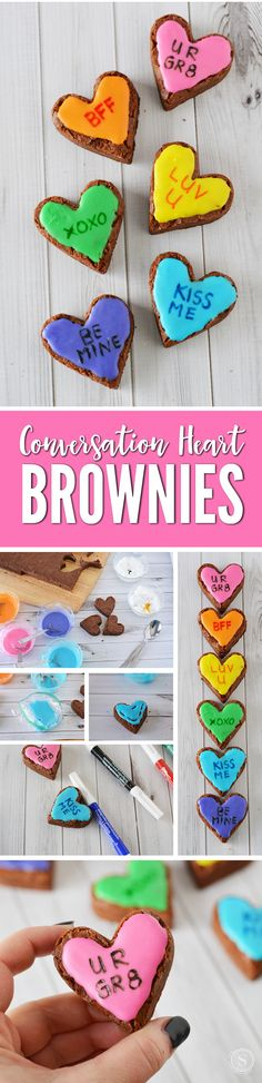 Conversation Heart Brownies are a Fun DIY Recipe for Valentines Day Desserts that the kids can help make!