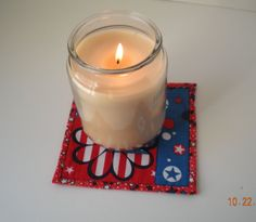 Candle Coasters set of 2 large by AkitaMomStudios on Etsy