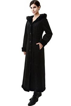 BGSD Womens Pauline Hooded Faux Shearling Maxi Coat  Black S *** For more information, visit image link.