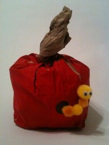 Paper Bag Wormy Apple Craft