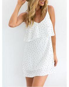 fc9d52053b1 AB21194 Pretty Polka Dot Dress White Sexy Summer Dresses
