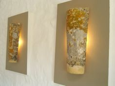 Uplighters, French antique roof tile created into ambient wall lights - a very cool reclamation project!